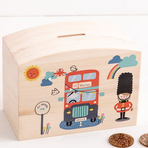 Personalised London Bus Themed Money Pot Piggy Bank - Funky Laser