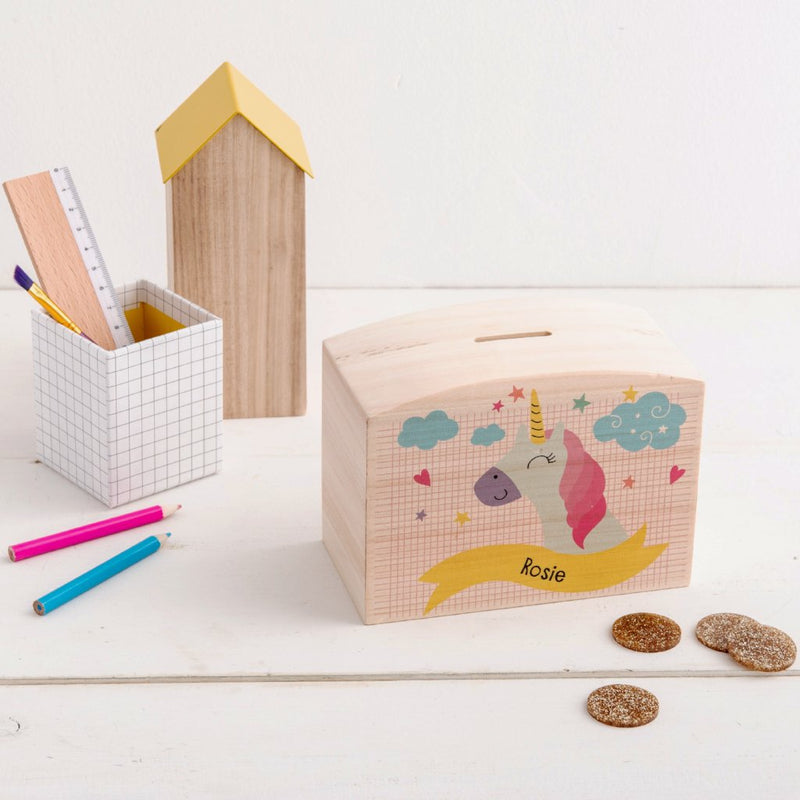 Personalised Unicorn Themed Money Pot Piggy Bank - Funky Laser