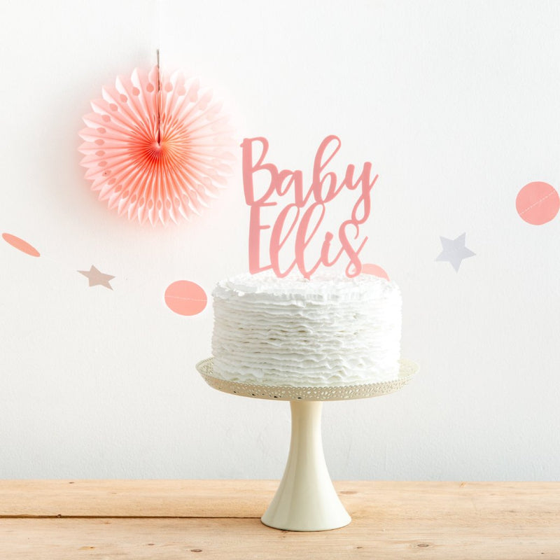 Personalised Baby Announcement Surname Cake Topper - Funky Laser