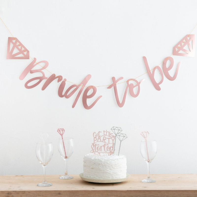 ROSE GOLD BRIDE TO BE HEN PARTY BUNTING - Funky Laser
