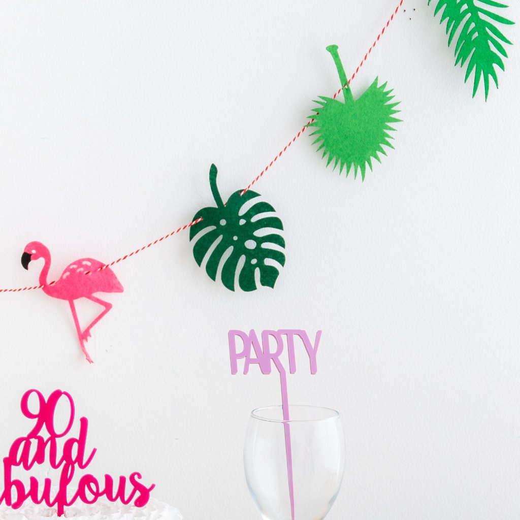 Pink Felt Tropical Flamingo Bunting - Funky Laser