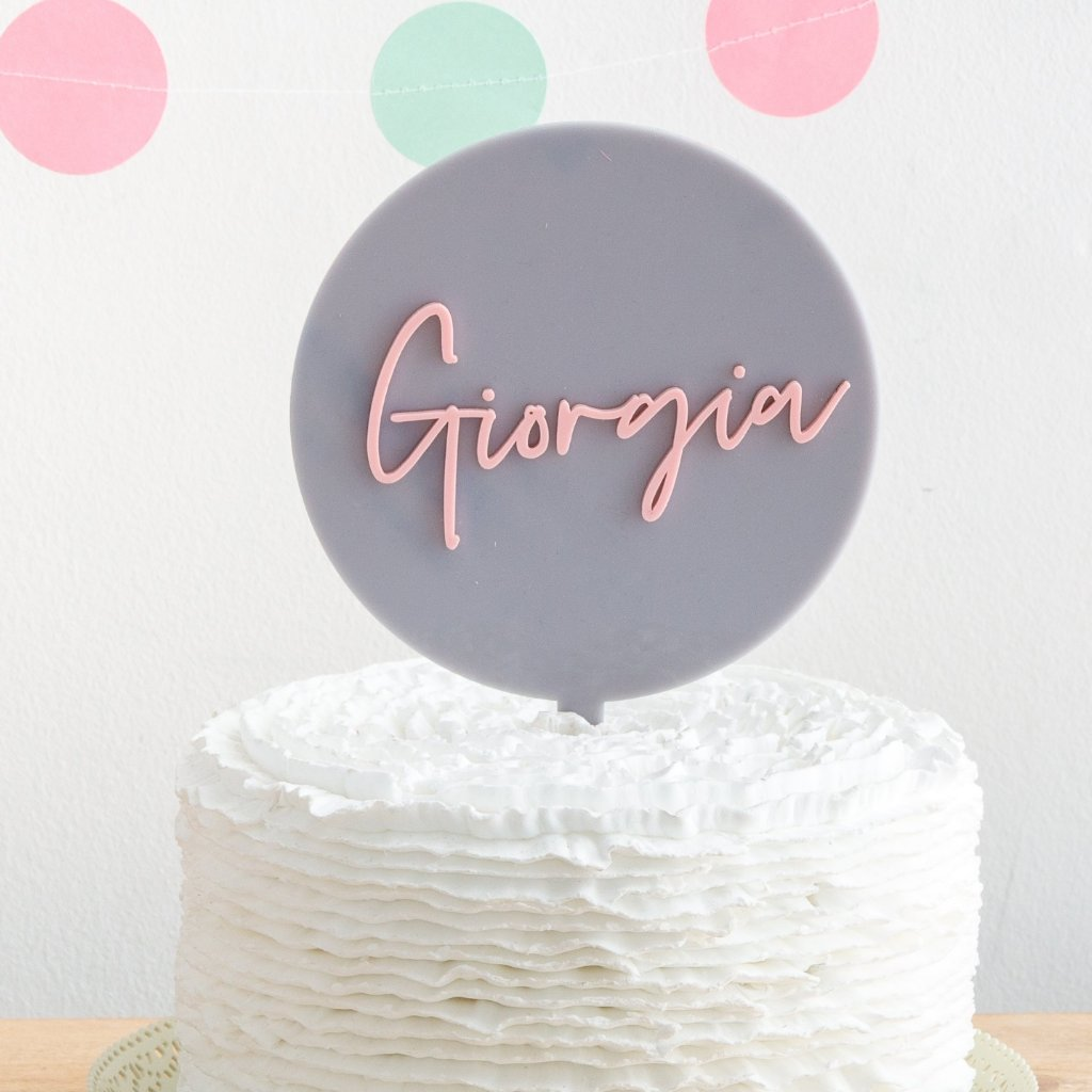Personalised Birthday Name Disc Cake Topper - Funky Laser