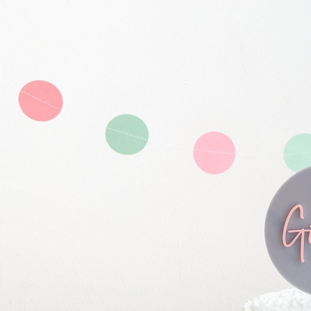 Mint & Pink Circle Bunting - Funky Laser
