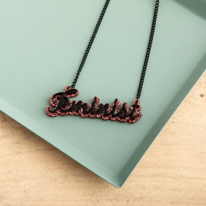Personalised Double Script Name Necklace - Funky Laser