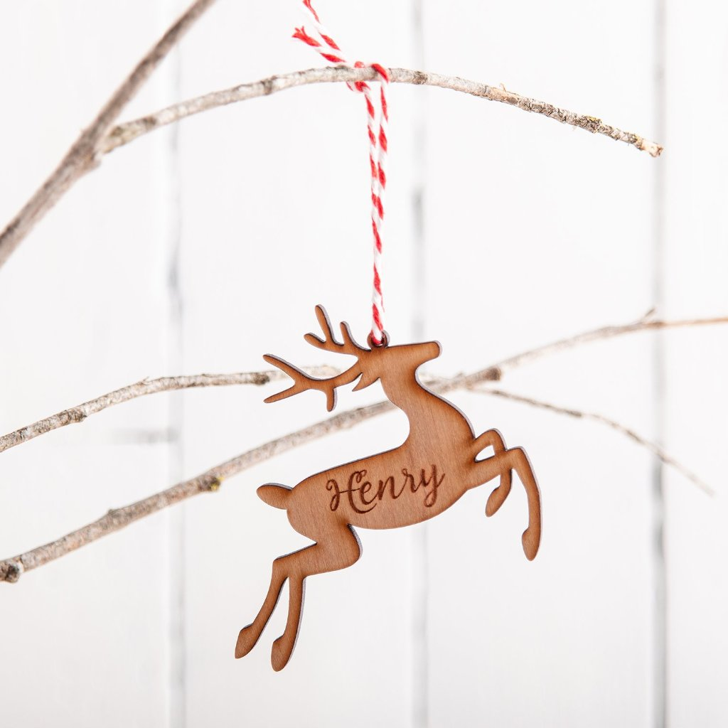 Personalised Wooden Reindeer Christmas Bauble - Funky Laser