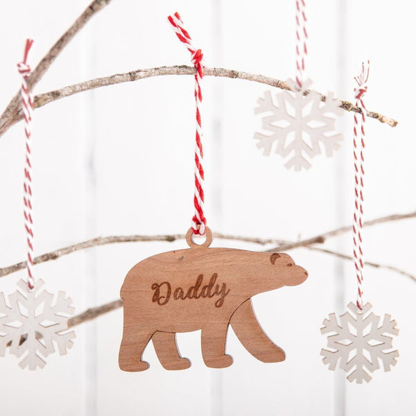 Personalised Wooden Polar Bear Tree Decoration - Funky Laser