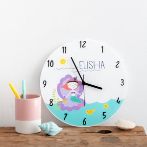 Girl's Mermaid Themed Personalised Clock - Funky Laser