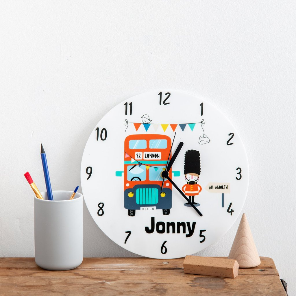 Children's Bedroom London Bus Theme Personalised Clock - Funky Laser