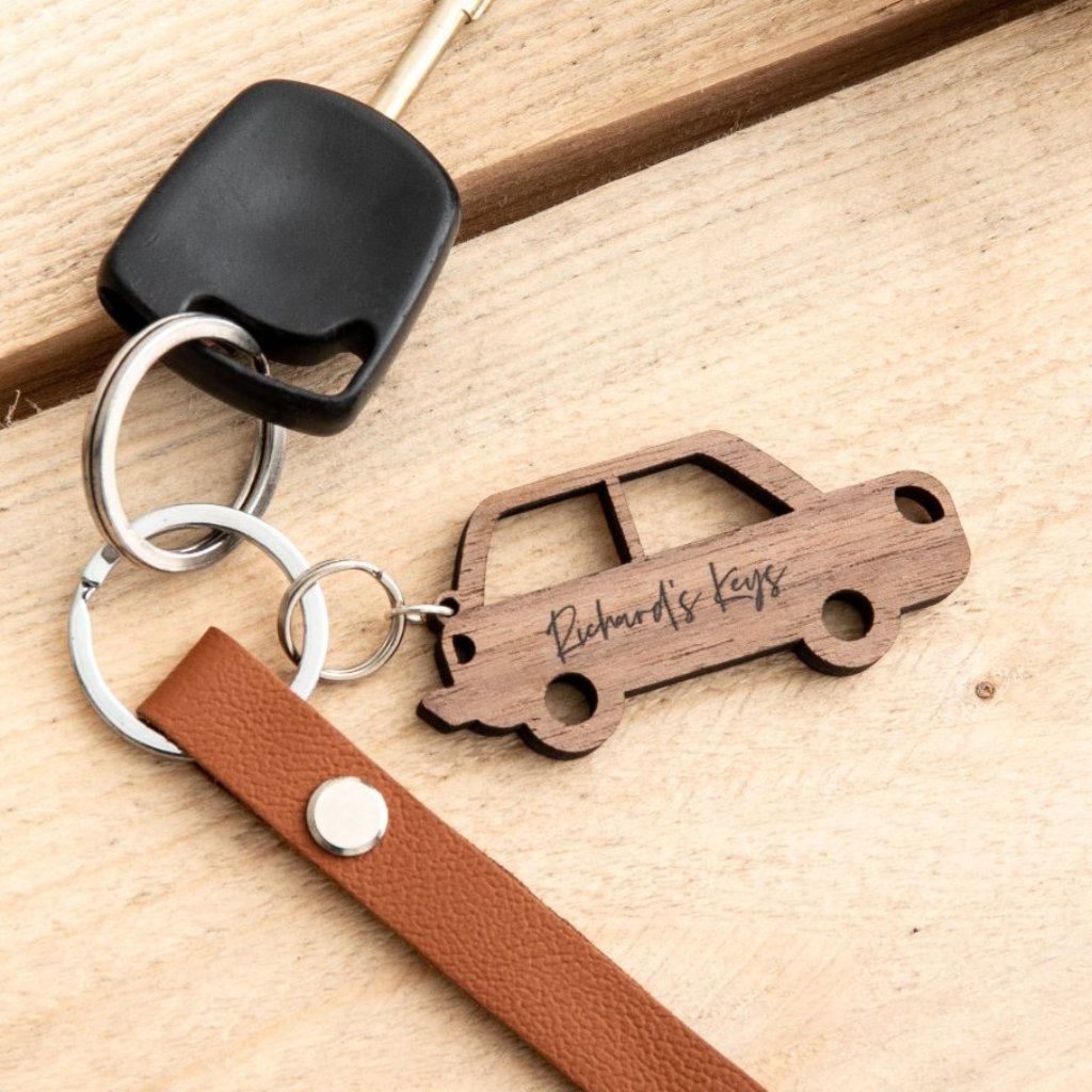 Personalised Wooden Walnut Car Keyring Gift - Funky Laser