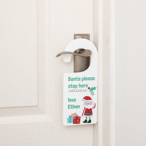Personalised Santa Please Stop Here Hanging Door Sign - Funky Laser