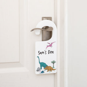 Personalised Dinosaur Den Bedroom Door Tag - Funky Laser