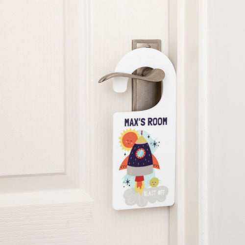 Personalised Boy's Space Bedroom Hanging Door Sign - Funky Laser
