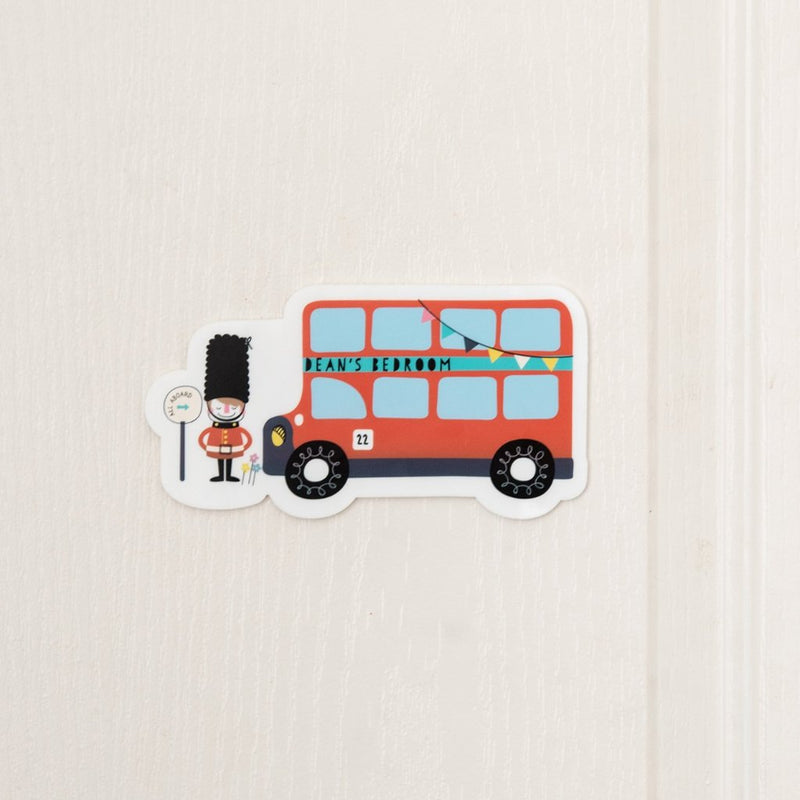 Personalised London Bus Bedroom Door Sign - Funky Laser