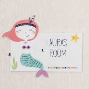Personalised Mermaid Themed Bedroom Door Sign - Funky Laser