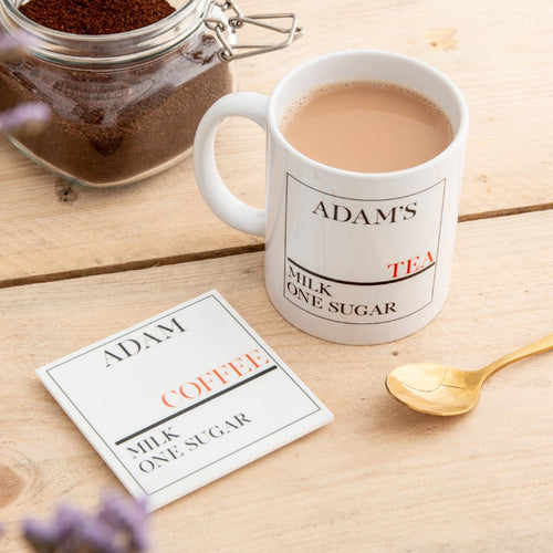Personalised Street Sign Drink Mug And Coaster Gift Set - Funky Laser