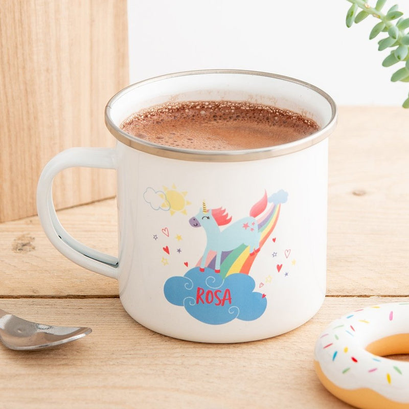Personalised Children's Unicorn Enamel Mug - Funky Laser