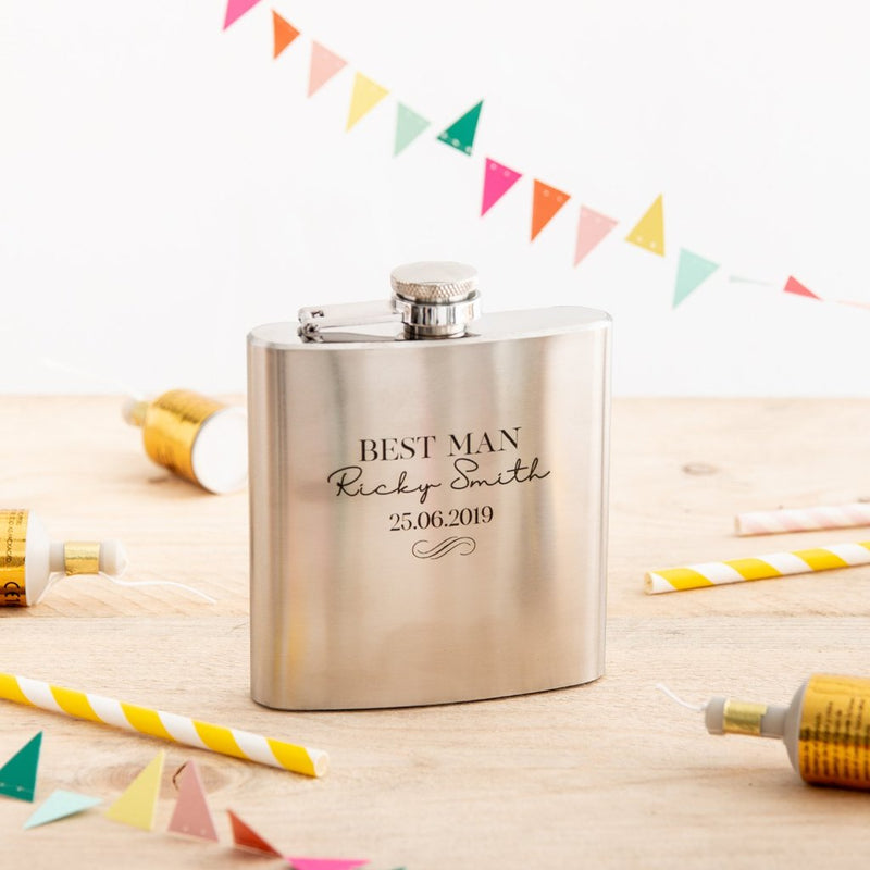 Personalised Stainless Steel Hip Flask Gift - Funky Laser