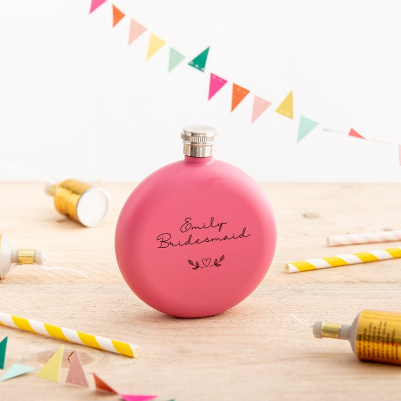 Personalised Pink Round Hip Flask Gift - Funky Laser