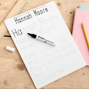 Children's Personalised Handwriting Practice Whiteboard - Funky Laser