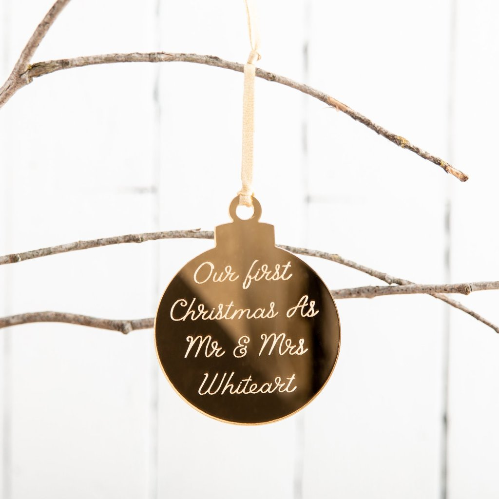 Personalised Golden Engraved Message Christmas Bauble - Funky Laser