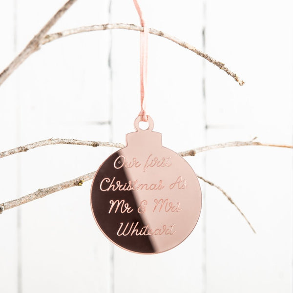 Personalised Engraved Rose Gold Christmas Bauble - Funky Laser