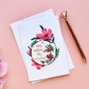 Floral Card With Personalised Hanging Decoration Token - Funky Laser
