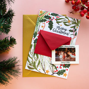Merry Christmas Card With Fridge Magnet Photo Gift - Funky Laser