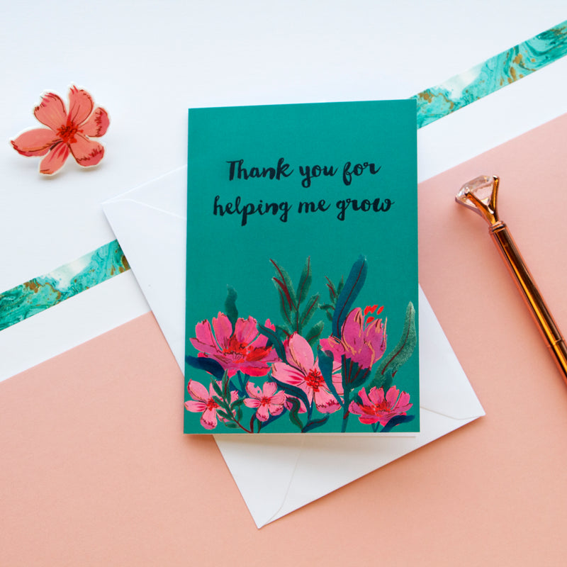 Thank You For Helping Me Grow Floral Card And Pin - Funky Laser