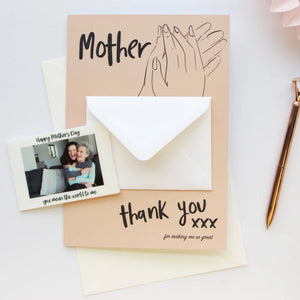 Mother Thank You Card And Photo Magnet Token