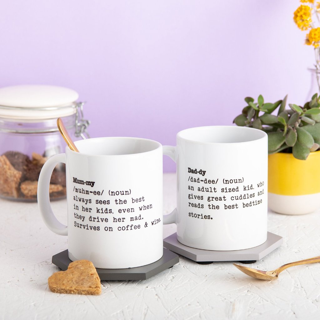Mummy And Daddy Definition Mug Gift Set - Funky Laser