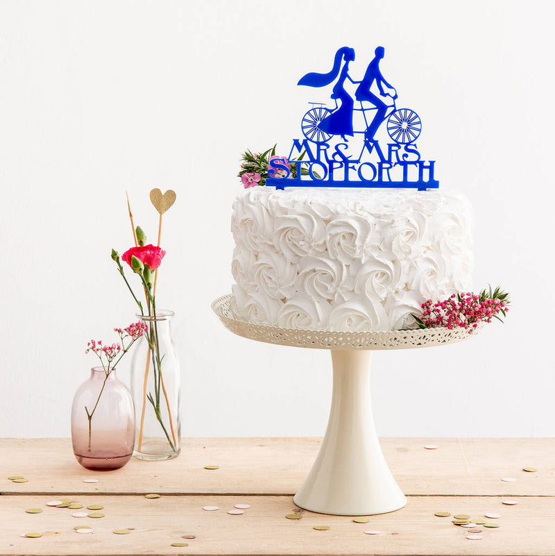 Mr And Mrs Personalised Tandem Bike Wedding Cake Topper - Funky Laser