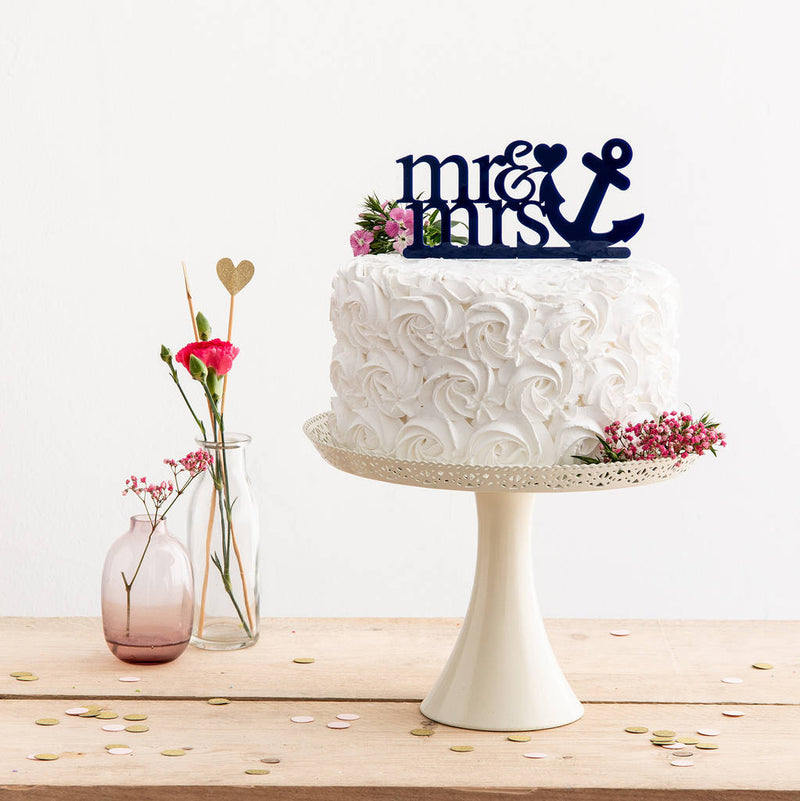 Mr And Mrs Sailor Anchor Wedding Cake Topper - Funky Laser