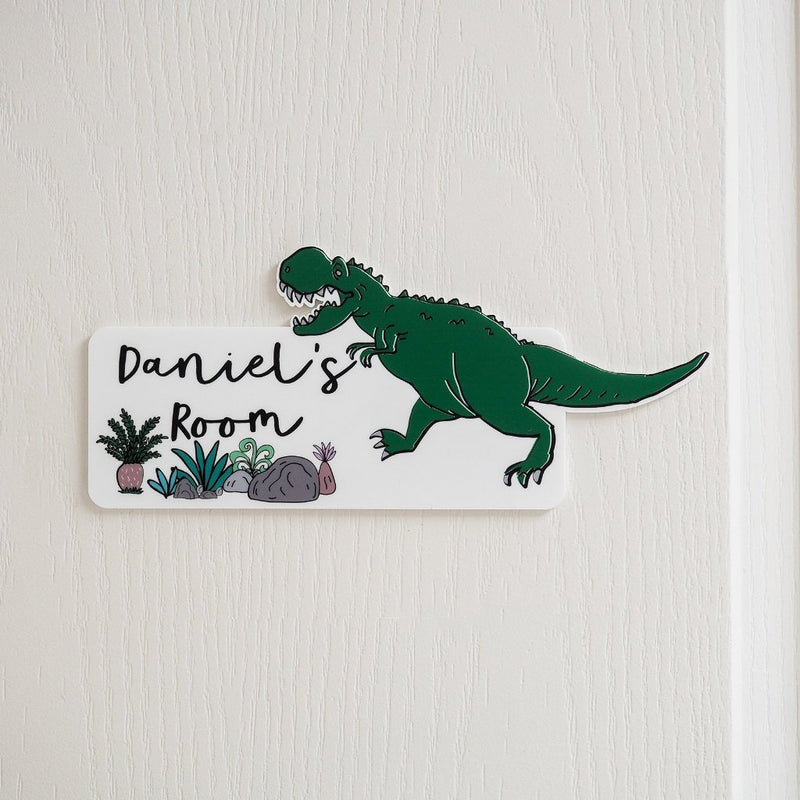 Personalised Dinosaur Themed Bedroom Door Sign - Funky Laser