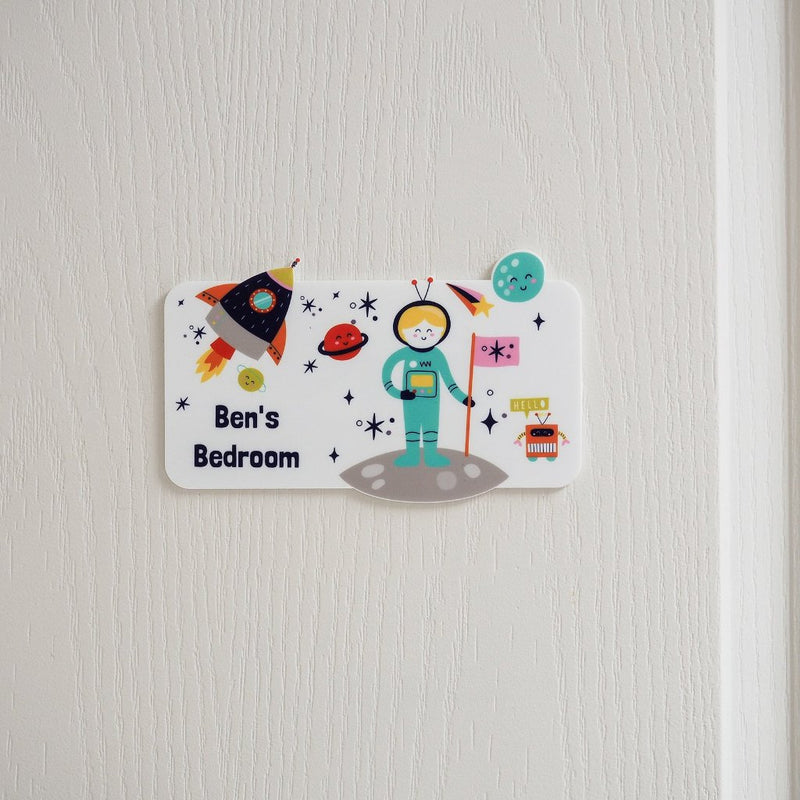 Personalised Space Themed Bedroom Door Sign - Funky Laser