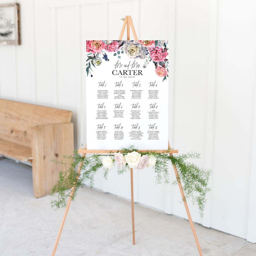 Peony Wedding Seating Plan In White Acrylic - Funky Laser