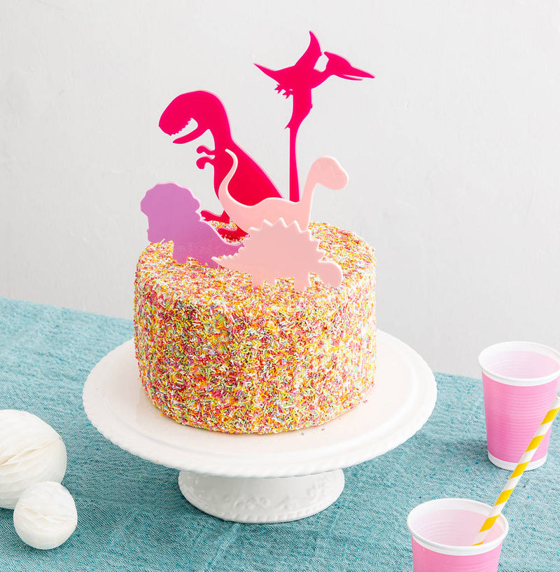 Pink Mini Dinosaurs Party Cake Topper Collection - Funky Laser
