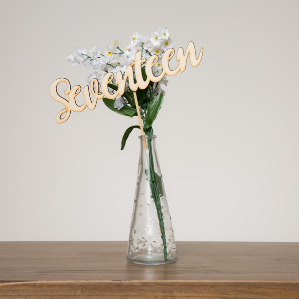 Rustic Wooden Script Table Numbers Set - Funky Laser