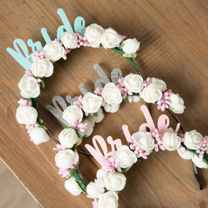 White Bride Flower Crown, Necklace And Photo Prop Gift - Funky Laser