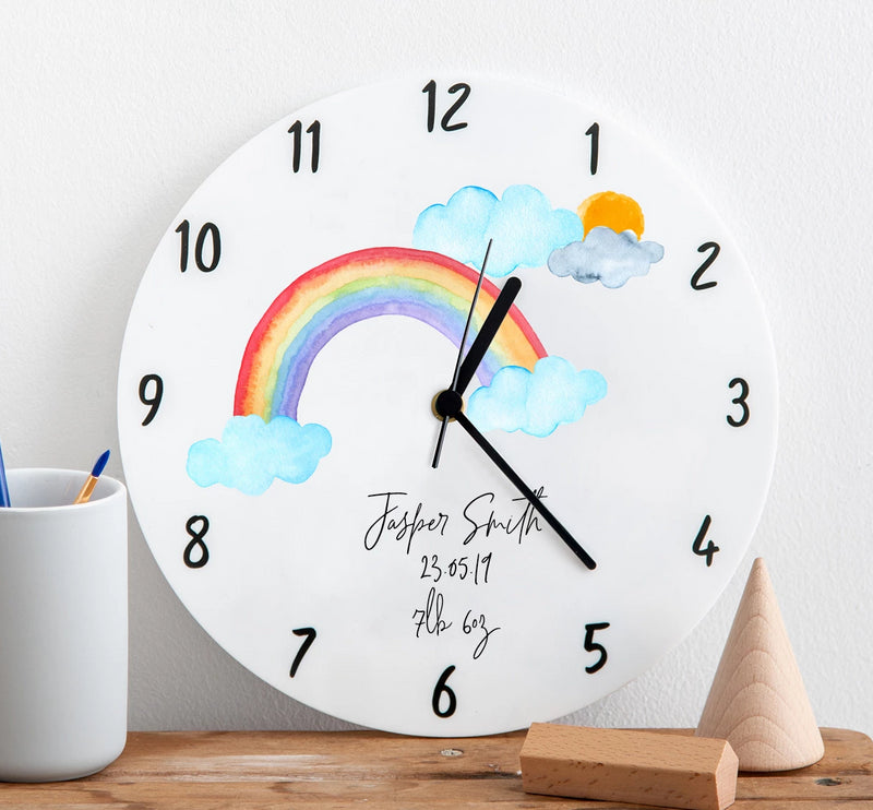 Rainbow Clouds Birth Date Personalised Bedroom Clock - Funky Laser
