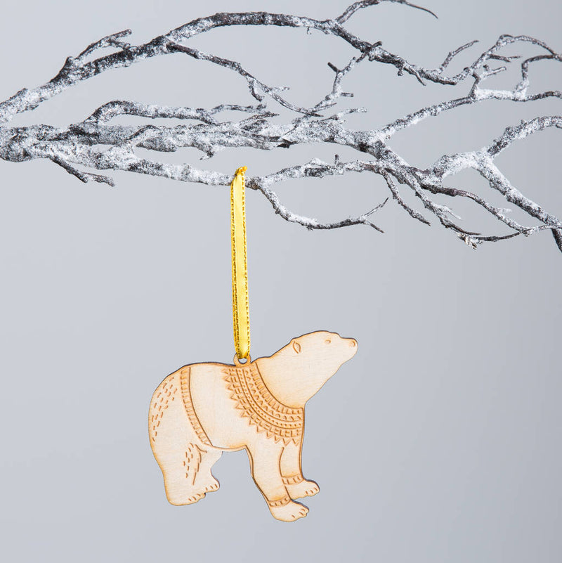 Wooden Polar Bear Christmas Bauble - Funky Laser