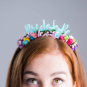 Bride To Be Colourful Floral Headband - Funky Laser