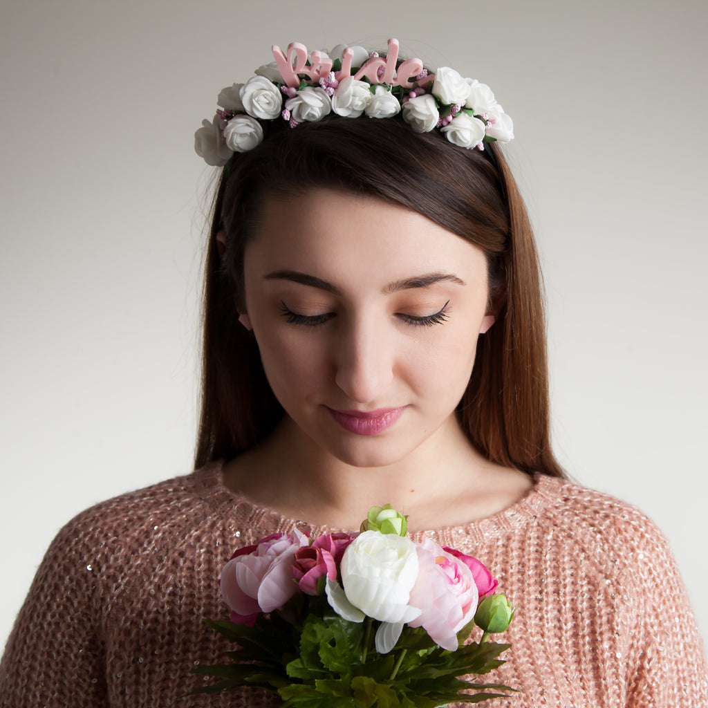 White Bride Hen Party, Hen Do Flower Headband - Funky Laser