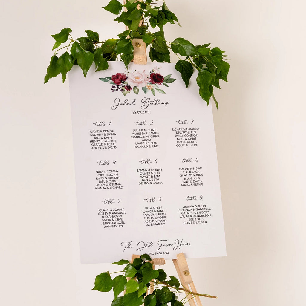 Burgundy Floral Wedding Seating Plan In Luxury Mount Board - Funky Laser
