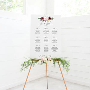 Burgundy Floral Wedding Seating Plan In White Acrylic - Funky Laser