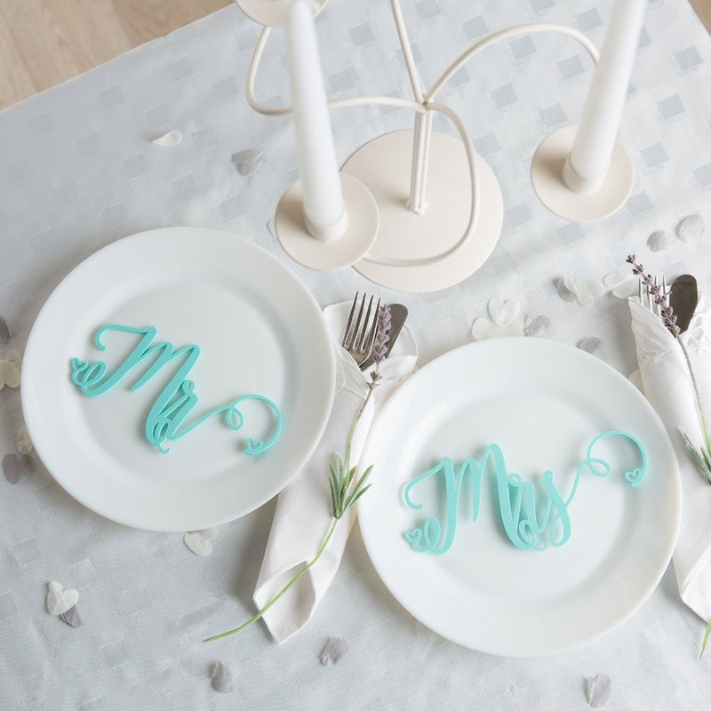Mr And Mrs Wedding Place Settings Table Decorations - Funky Laser