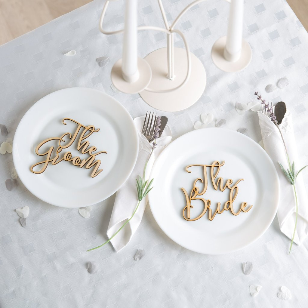 The Bride And Groom Place Settings in Birch Ply - Funky Laser