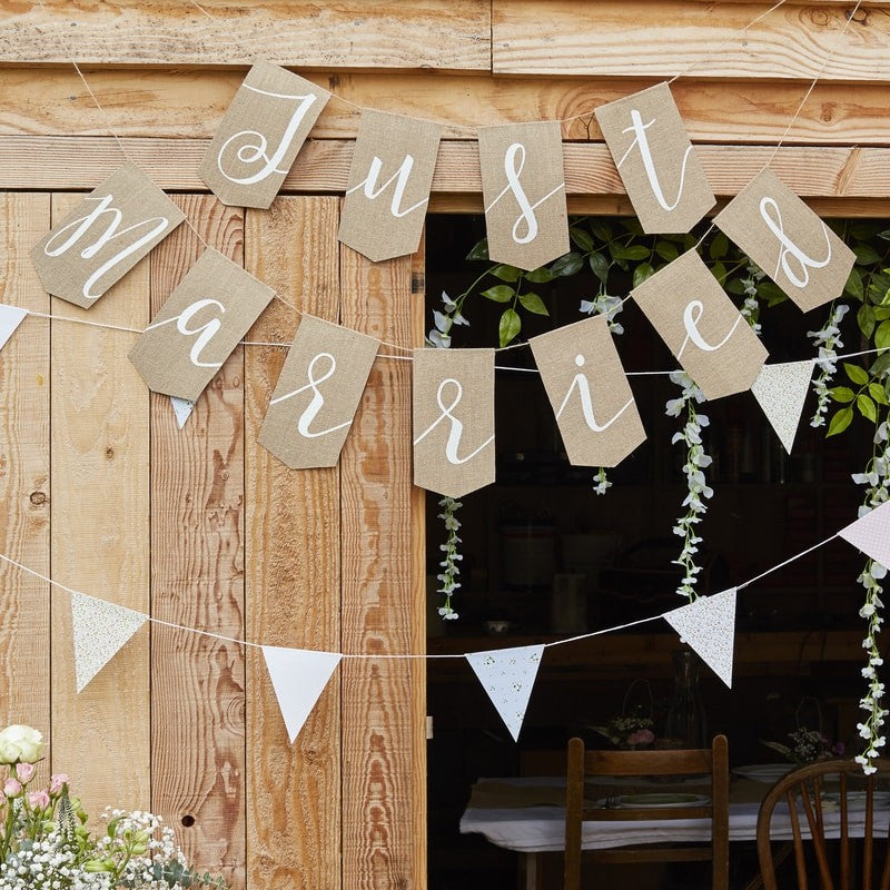 JUST MARRIED HESSIAN BUNTING - Funky Laser