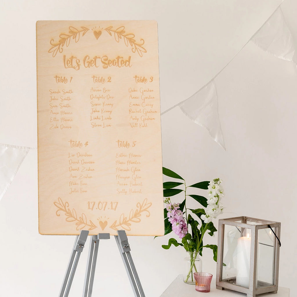 Wooden 'Let's Get Seated' Wedding Table Plan - Funky Laser