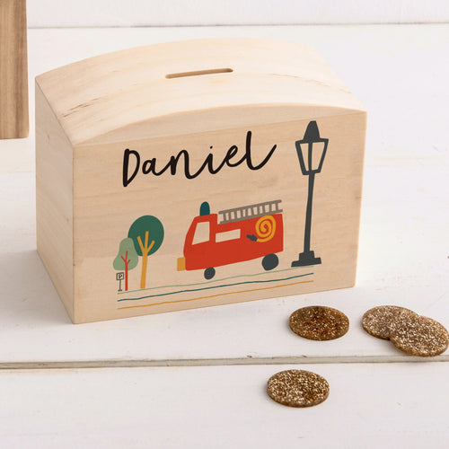 Personalised Fire Truck Themed Money Pot Piggy Bank - Funky Laser
