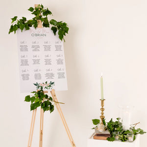 Floral Wedding Seating Plan In Luxury Mount Board - Funky Laser
